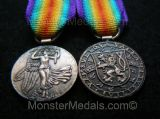 MINIATURE WW1 INTER ALLIED VICTORY MEDAL CZECHOSLOVAKIA
